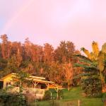Rainbow at sunset on the Eco-cottage at papalani farm